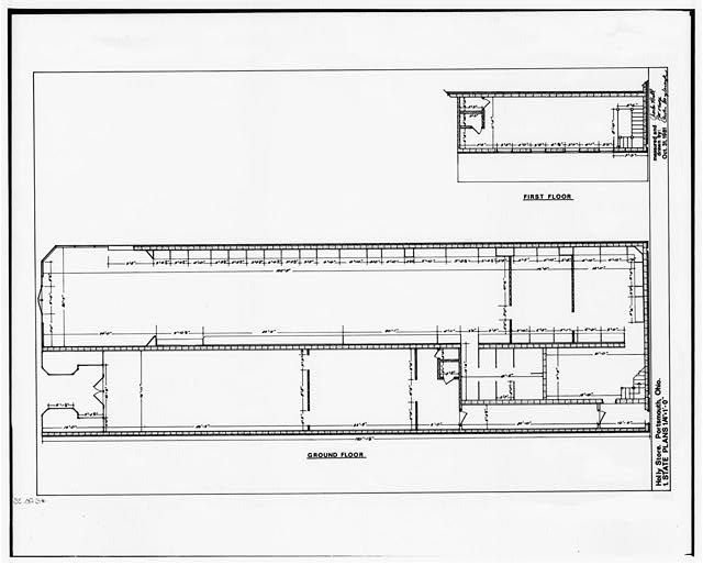 1.  PLANS: GROUND FLOOR, FIRST FLOOR - Holly Store, Chillicothe & Fourth Streets, Portsmouth, Scioto County, OH