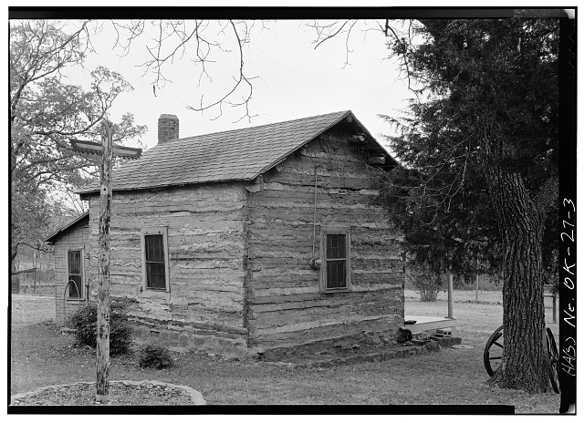 3.  NORTH (REAR) AND WEST ELEVATIONS - Dr. Irvin D. Leoser Log Cabin, 119 West Smith Street, Tahlequah, Cherokee County, OK