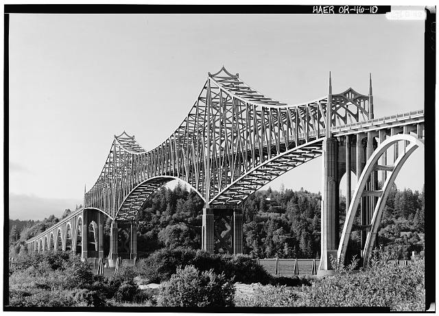 10.  Perspective view from southwest - Coos Bay Bridge, Spanning Coos Bay on Oregon Coast Highway, North Bend, Coos County, OR