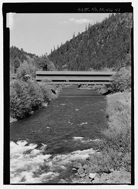 SOUTH ELEVATION LOOKING NORTH - Office Bridge, Spanning North Fork of Middle Fork Willamette River, Old Mill Road (former logging road), Westfir, Lane County, OR