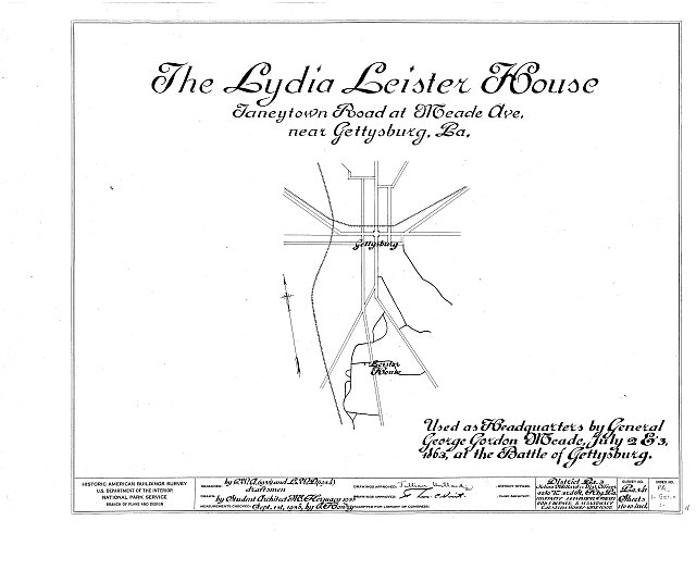 HABS PA,1-GET.V,1- (sheet 0 of 10) - Lydia Leister House, Taneytown Road & Meade Avenue, Gettysburg, Adams County, PA