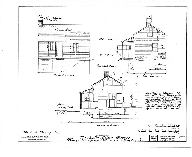 HABS PA,1-GET.V,1- (sheet 4 of 10) - Lydia Leister House, Taneytown Road & Meade Avenue, Gettysburg, Adams County, PA