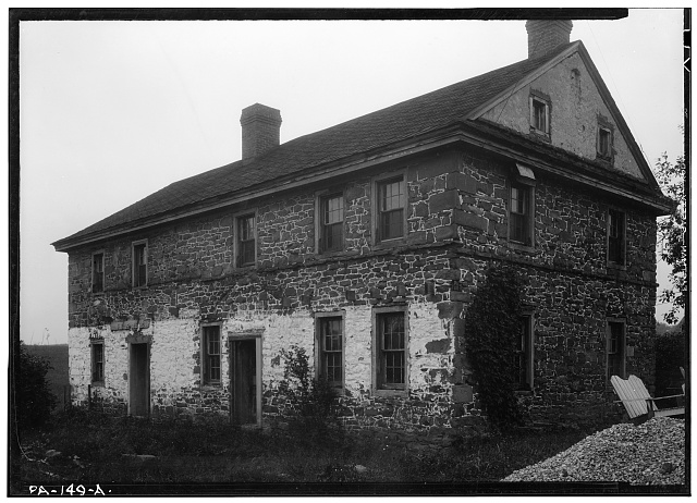 1.  Historic American Buildings Survey, Stanley P. Mixon, Photographer September 10, 1940 EXTERIOR, GENERAL VIEW FROM SOUTHEAST. - Daniel Boone Birthplace, State Route 422 vicinity (Exeter Township), Baumstown, Berks County, PA