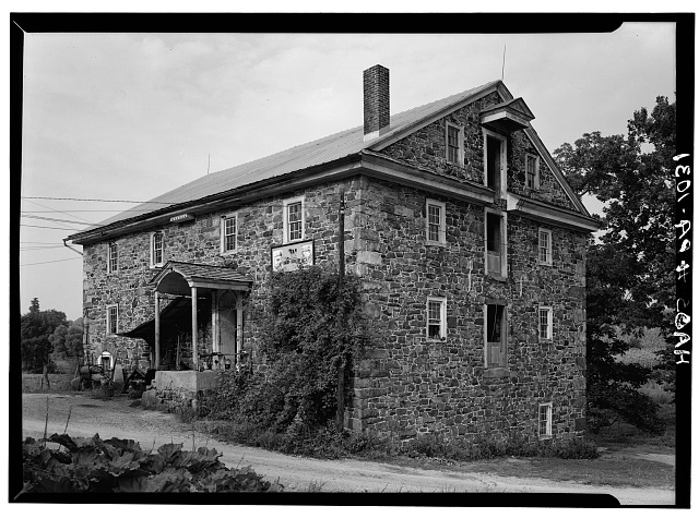 1.  Historic American Buildings Survey, Cervin Robinson, Photographer August, 1958 NORTHWEST AND SOUTHWEST ELEVATIONS. - Knabb-Bieber Mill, Monocacy Creek (Oley Township), Oley, Berks County, PA