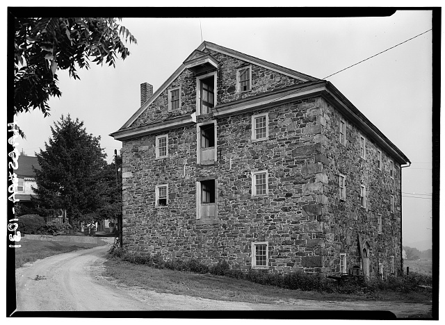 2.  Historic American Buildings Survey, Cervin Robinson, Photographer August, 1958 SOUTHWEST AND SOUTHEAST ELEVATIONS. - Knabb-Bieber Mill, Monocacy Creek (Oley Township), Oley, Berks County, PA