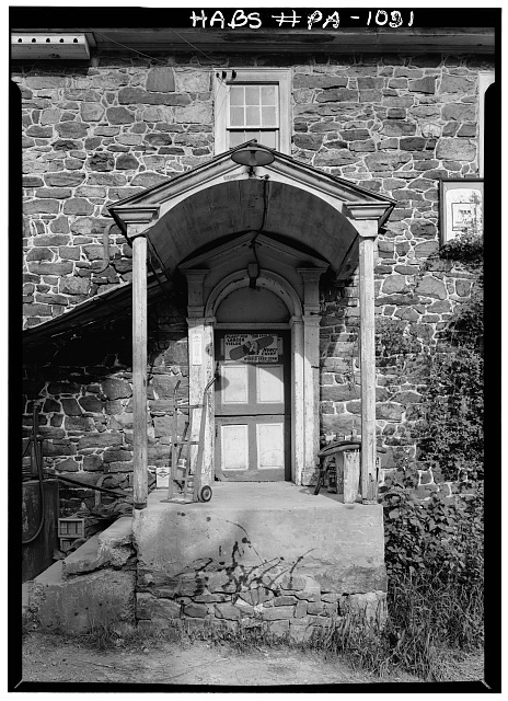 4.  Historic American Buildings Survey, Cervin Robinson, Photographer August, 1958 DOORWAY, NORTHWEST ELEVATION. - Knabb-Bieber Mill, Monocacy Creek (Oley Township), Oley, Berks County, PA