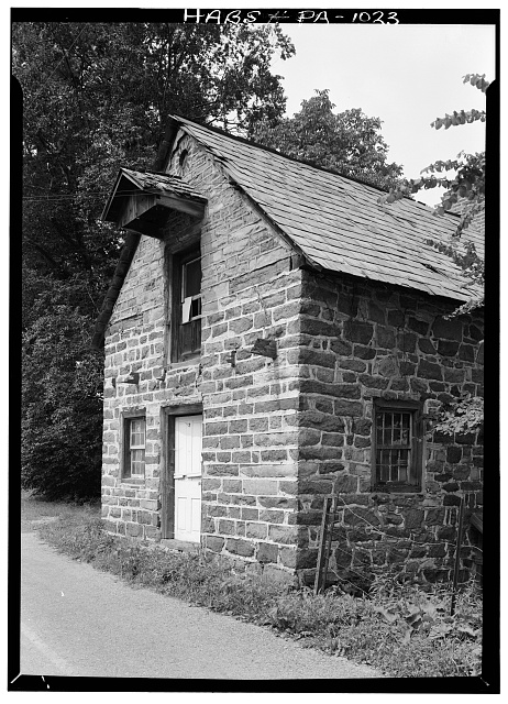 2.  Historic American Buildings Survey, Cervin Robinson, Photographer August, 1958 SOUTHWEST (FRONT) AND PART OF SOUTHEAST ELEVATIONS. - De Turck House, State Route 662 vicinity (Oley Township), Oley, Berks County, PA