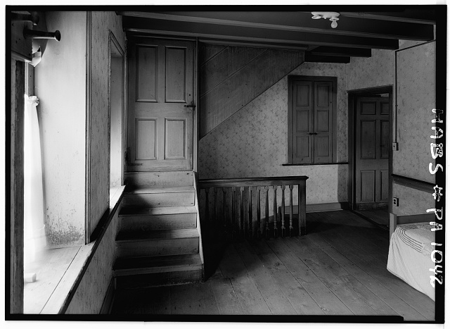 5.  Historic American Buildings Survey, Cervin Robinson, Photographer August, 1958 STAIRCASE AT SECOND FLOOR, IN LARGE FIRST PART OF HOUSE, SOUTHWEST CORNER. - Kaufman House, State Route 662 vicinity (Oley Township), Oley, Berks County, PA
