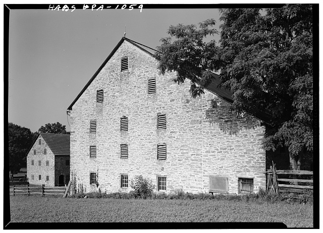 2.  Historic American Buildings Survey, Cervin Robinson, Photographer August, 1958 EAST ELEVATIONS. - Kaufman Barns, State Route 662 vicinity (Oley Township), Oley, Berks County, PA