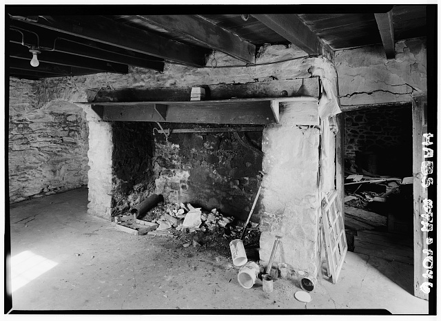 3.  Historic American Buildings Survey, Cervin Robinson, Photographer August, 1958 FIRST FLOOR FIREPLACE. - Kaufman Small House, State Route 662 vicinity (Oley Township), Oley, Berks County, PA