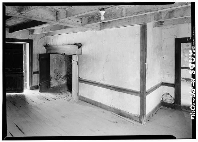 4.  Historic American Buildings Survey, Cervin Robinson, Photographer August, 1958 FIREPLACE WALL ON SECOND FLOOR. - Kaufman Small House, State Route 662 vicinity (Oley Township), Oley, Berks County, PA