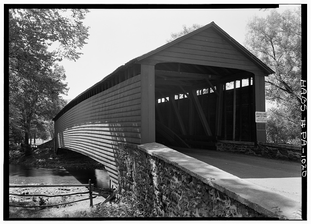 1.  Historic American Buildings Survey, Cervin Robinson, Photographer August, 1958 VIEW FROM NORTH. - Griesemer Mill Covered Bridge, 3.5 miles north of State Route 562, spanning Manatawny Creek, Yellow House, Berks County, PA