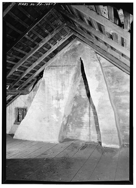 7.  ATTIC, SHOWING CHIMNEY FLUES - Morriseianna, State Route 41 (London Grove Township), Chatham, Chester County, PA