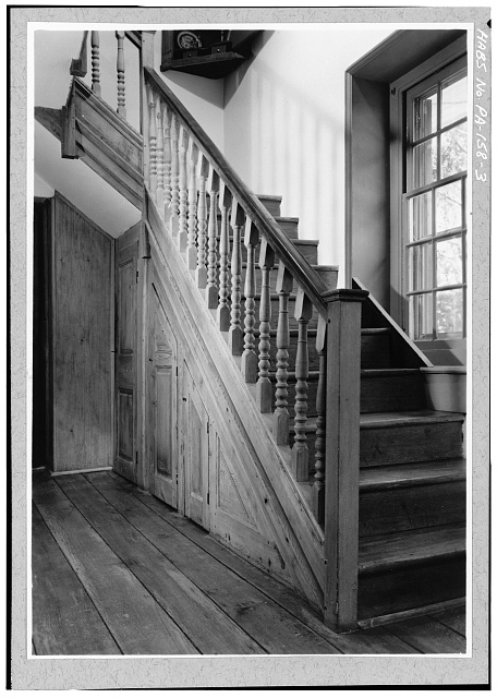 3.  FIRST FLOOR, CENTER SECTION, EAST ROOM, STAIRWAY IN SOUTHEAST CORNER - Pusey House, Woodview Road (London Grove Township), Chatham, Chester County, PA