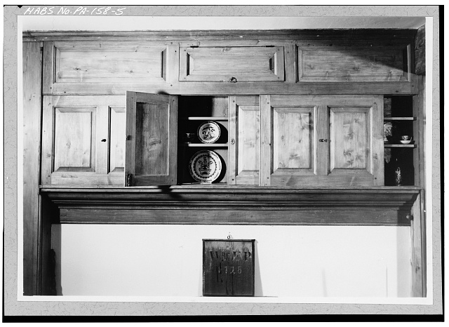 5.  FIRST FLOOR, CENTER SECTION, EAST ROOM, EAST WALL OVER MANTLE WITH SLIDING AND HINGED DOORS - Pusey House, Woodview Road (London Grove Township), Chatham, Chester County, PA