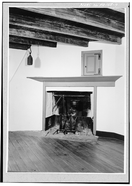 9.  FIRST FLOOR, EAST SECTION, NORTH ROOM, FIREPLACE IN SOUTHEAST CORNER - Pusey House, Woodview Road (London Grove Township), Chatham, Chester County, PA