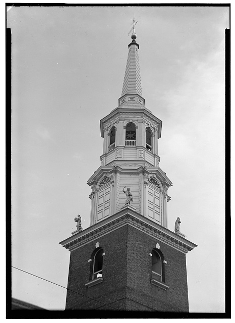 1.  Historic American Buildings Survey, John O. Brostrup, Photographer January 12, 1937 2:00 P.M. DETAIL OF TOWER FROM NORTHWEST. - Lutheran Church of the Holy Trinity, 31 South Duke Street, Lancaster, Lancaster County, PA