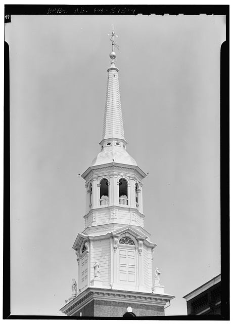 4.  STEEPLE, FROM THE SOUTHWEST - Lutheran Church of the Holy Trinity, 31 South Duke Street, Lancaster, Lancaster County, PA