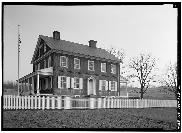 2.  FRONT NORTH ELEVATION WITH EAST ELEVATION, FROM NORTHEAST - Rockford, Rock Ford Road (West Lampeter Township), Lancaster, Lancaster County, PA