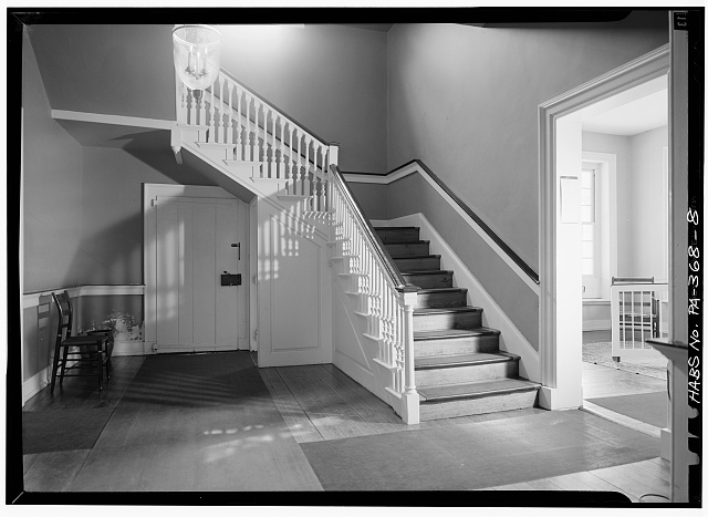 8.  STAIRHALL, FIRST FLOOR, REAR END OF HOUSE, LOOKING SOUTH - Rockford, Rock Ford Road (West Lampeter Township), Lancaster, Lancaster County, PA