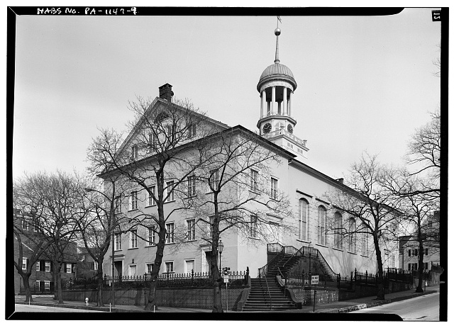 4.  Feb. 1969 WEST END AND SOUTH FRONT ELEVATIONS, VIEW LOOKING NORTHEAST. - Central Moravian Church, 406 Main Street, Bethlehem, Northampton County, PA