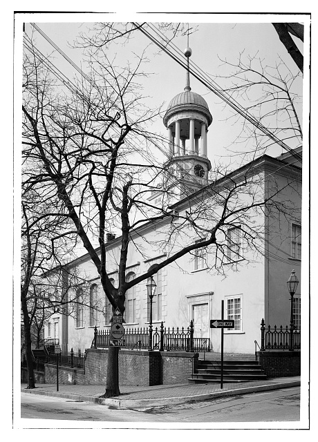 6.  Feb. 1969 SOUTH ELEVATION (FRONT), VIEW TO NORTHWEST. - Central Moravian Church, 406 Main Street, Bethlehem, Northampton County, PA