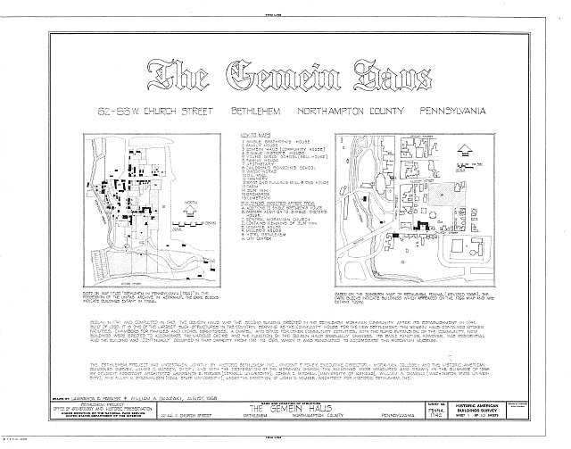 HABS PA,48-BETH,3-A- (sheet 1 of 10) - Gemein Haus, 62-66 West Church Street, Bethlehem, Northampton County, PA