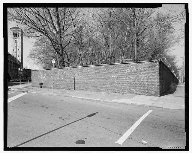 Segment of brick perimeter wall extending around the naval asylum grounds at twenty-fourth street with Gray's Ferry Avenue branching to the left and Bainbridge Street to the right, looking southwest. - U. S. Naval Asylum, Biddle Hall, Gray's Ferry Avenue, Philadelphia, Philadelphia County, PA