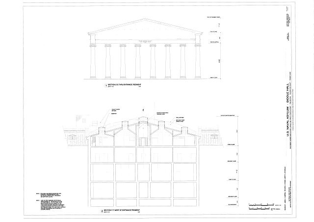 Section thru Entrance Pediment and Section west of Entrance Pediment - U. S. Naval Asylum, Biddle Hall, Gray's Ferry Avenue, Philadelphia, Philadelphia County, PA