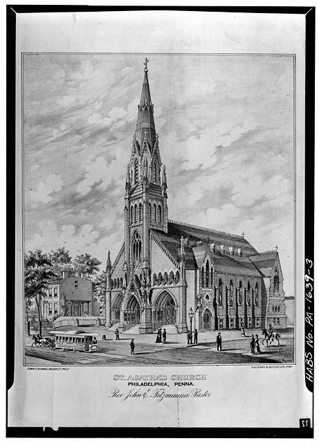 3.  Photocopy of ca. 1885 lithograph, VIEW OF CHURCH (note presence of spire). Lithograph at American Catholic Historical Society, Philadelphia, Pa. - St. Agatha's Roman Catholic Church, 3801 Spring Garden Street, Philadelphia, Philadelphia County, PA