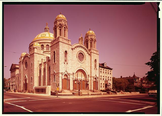 South (side) and east (front) elevation. Duplicate color view of HABS PA-1640-2 - St. Francis DeSales Roman Catholic Church, 4629-4635 Springfield Avenue, Philadelphia, Philadelphia County, PA