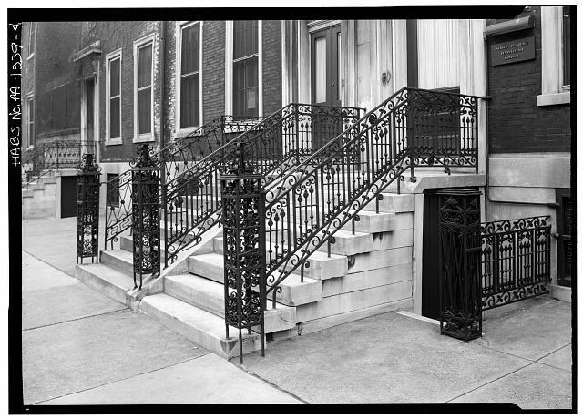 4.  George A. Eisenman, Photographer April, 1958 STAIRWAY, SPRUCE STREET - 722-730 Spruce Street (Houses), Philadelphia, Philadelphia County, PA