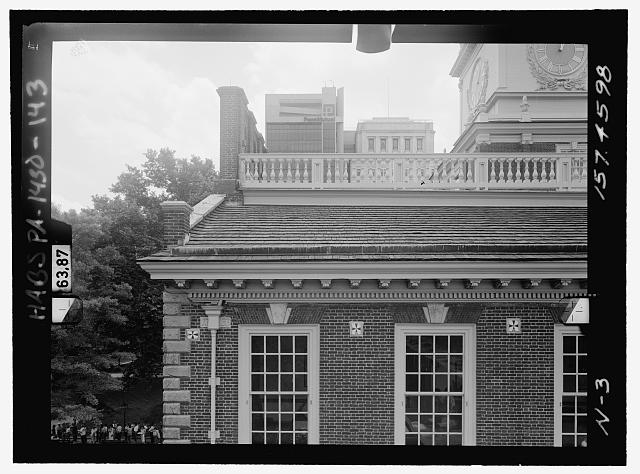NORTH ELEVATION, UPPER EAST. Glass plate stereopair number PA-1430-139 LC-HABS-GS05-N-3 157.4598. Left (printed) - Independence Hall Complex, Independence Hall, 500 Chestnut Street, Philadelphia, Philadelphia County, PA
