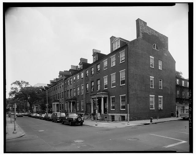 1.  NORTH (FRONT) FACADES, SHOWING WEST END WALL - Portico Square, 900-930 Spruce Street, Philadelphia, Philadelphia County, PA