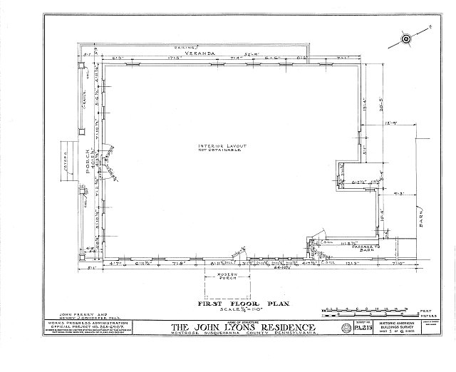 HABS PA,58-MONT,1- (sheet 1 of 6) - Sylvanus Mulford House, 65 Church Street, Montrose, Susquehanna County, PA