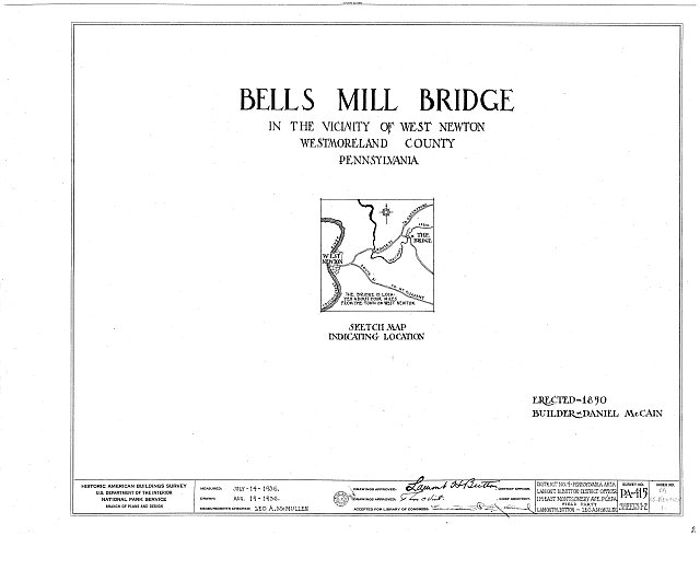 Title Sheet - Bells Mill Bridge, Sewickley Creek, West Newton, Westmoreland County, PA