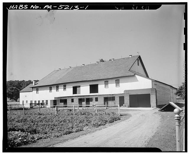 1.  GENERAL VIEW. WHITE PAINTED WOOD WITH GREEN TRIM - Barn, Route 280, Lancaster, Lancaster County, PA