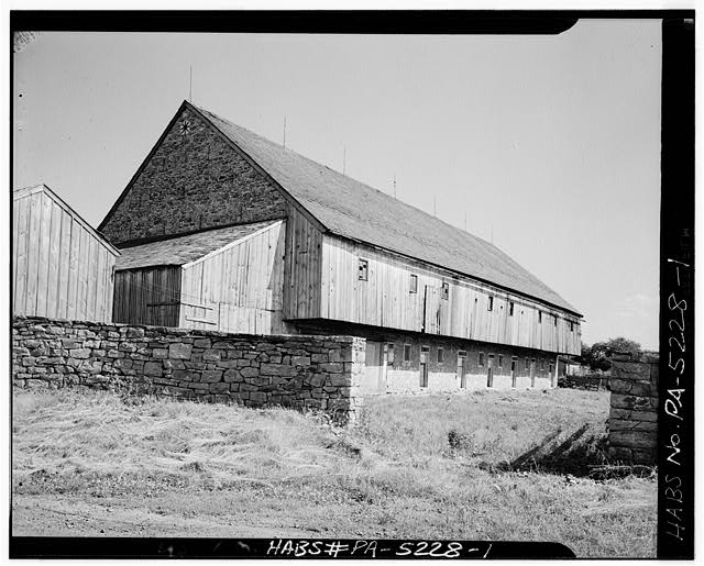 1.  GENERAL VIEW. NOTE VERTICAL SIDING ON FOREBAY - Jacob & Elizabeth Miller Barn (1804), U.S. Route 30 vicinity, Lancaster, Lancaster County, PA