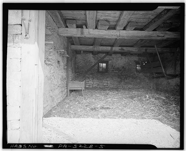 5.  INTERIOR OF STABLE. NOTE FRAMING - Jacob & Elizabeth Miller Barn (1804), U.S. Route 30 vicinity, Lancaster, Lancaster County, PA