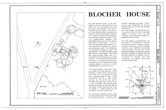HABS PA,1-GET.V,10- (sheet 1 of 3) - Blocher House, Tablerock Road, off Route 34, Gettysburg, Adams County, PA