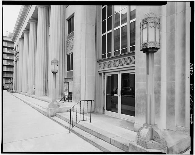 2.  PERSPECTIVE OF DETAIL OF SOUTHWEST END OF NORTHWEST FRONT LOOKING NORTH - U.S. Post Office, 1201 Eleventh Avenue, Altoona, Blair County, PA