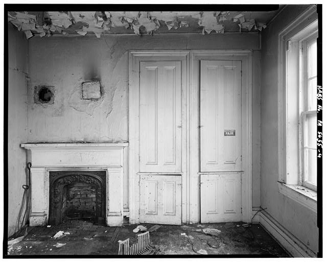 4.  FIRST FLOOR, DINING ROOM, DETAIL OF FIREPLACE AND CABINETS - Henry S. Overton House, 1526 Frick Avenue, West Overton, Westmoreland County, PA