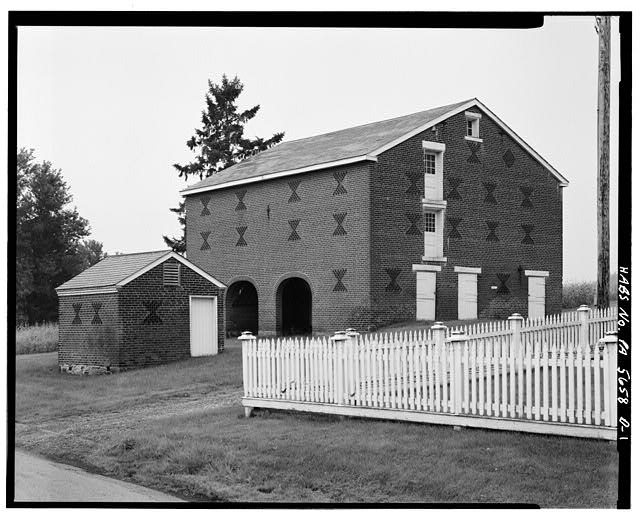 1.  HOG PEN (LEFT) AND STABLES (RIGHT), EAST AND NORTH SIDES - Abraham Overholt House, South Stables & Hog Pen, West Overton, Westmoreland County, PA