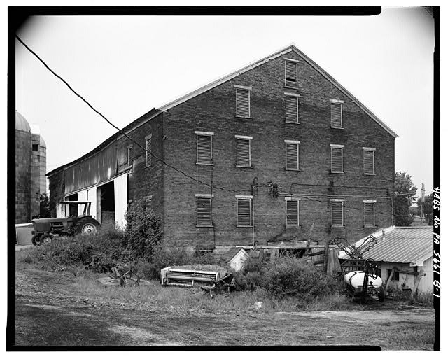 1.  WEST AND SOUTH SIDES - Abraham Overholt Farm, Large Barn, Frick Avenue, West Overton, Westmoreland County, PA