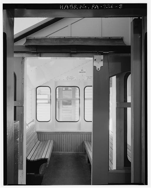 3.  INCLINE PLANE CAR INTERIOR, UPPER COMPARTMENT. - Monongahela Incline Plane, Connecting North side of Grandview Avenue at Wyoming Street with West Carson Street near Smithfield Street, Pittsburgh, Allegheny County, PA