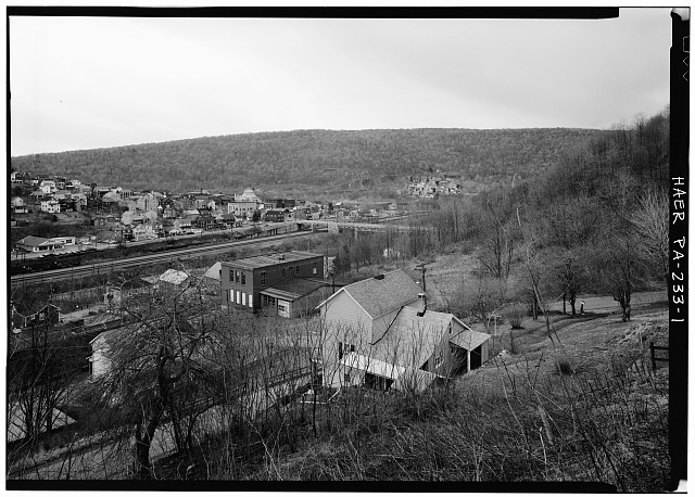 1.  GENERAL PERSPECTIVE VIEW LOOKING SOUTHWEST AT TOWN OF SOUTH FORK AND BRIDGE (in center) - Fifficktown Bridge, Spanning Little Conemaugh River, South Fork, Cambria County, PA