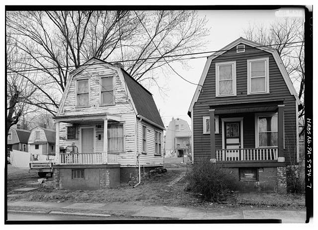 7.  VIEW OF GREFCO HOUSES SHOWING SOUTHWEST SIDE OF WATER STREET. HOUSE NO. 64 TO LEFT. - Town of Mount Union, Near U.S. Highway 522, Mount Union, Huntingdon County, PA