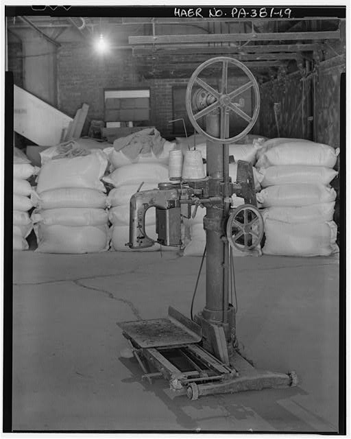 c. 1913 bag sewing machine - Stewart Company Grain Elevator, 16 West Carson Street, Pittsburgh, Allegheny County, PA
