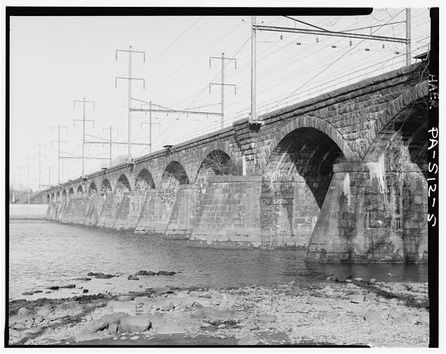 3/4 view, from west. - Pennsylvania Railroad, Delaware River Bridge, Spanning Delaware River, South of U.S. Route 1, Morrisville, Bucks County, PA