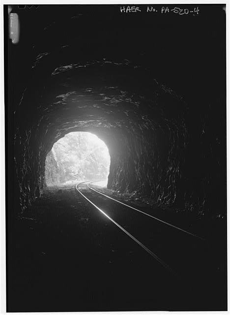 Interior of tunnel, looking SE toward east portal - Philadelphia & Reading Railroad, Black Rock Tunnel, Beneath Black Rock Hill, southwest of Black Rock Dam, Phoenixville, Chester County, PA
